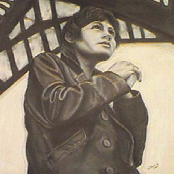 Pastel Drawing of a Women in Long Leather Jacket Eiffel Tower